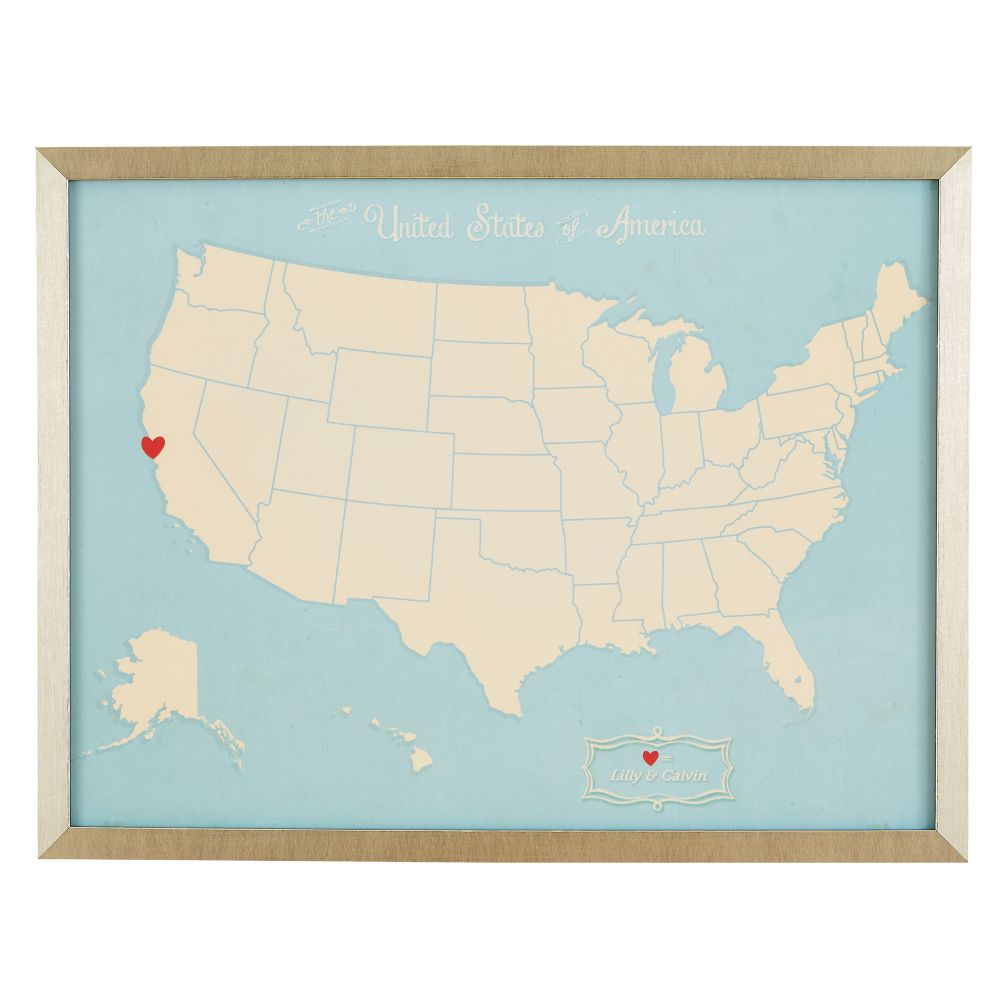 Where the Heart Is Personalized Wall Art (Lt. Blue)