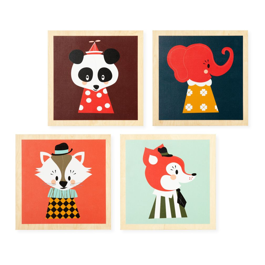 Wooden  Animal Wall Art (Set of 4)