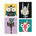 Set/4 Animal Bebop Canvas Wall Art