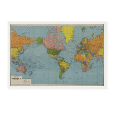 World Wide Framed Wall Map