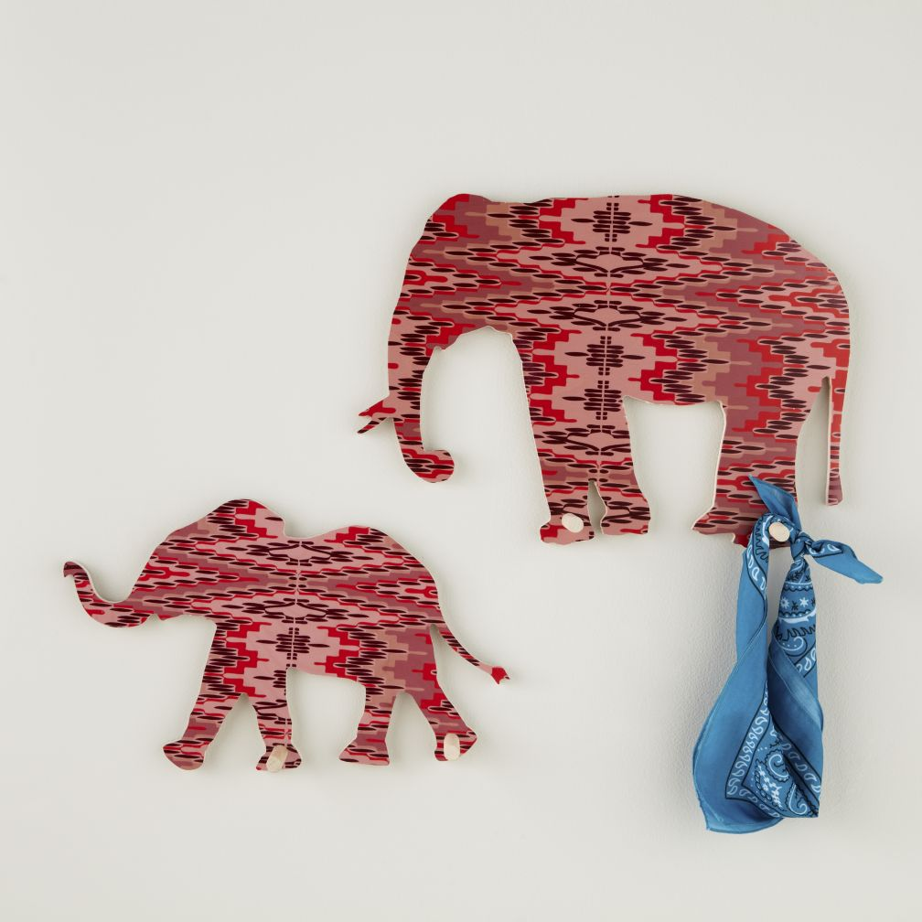 Flashy Forest Elephant Wall Hook (Pink/Purple)