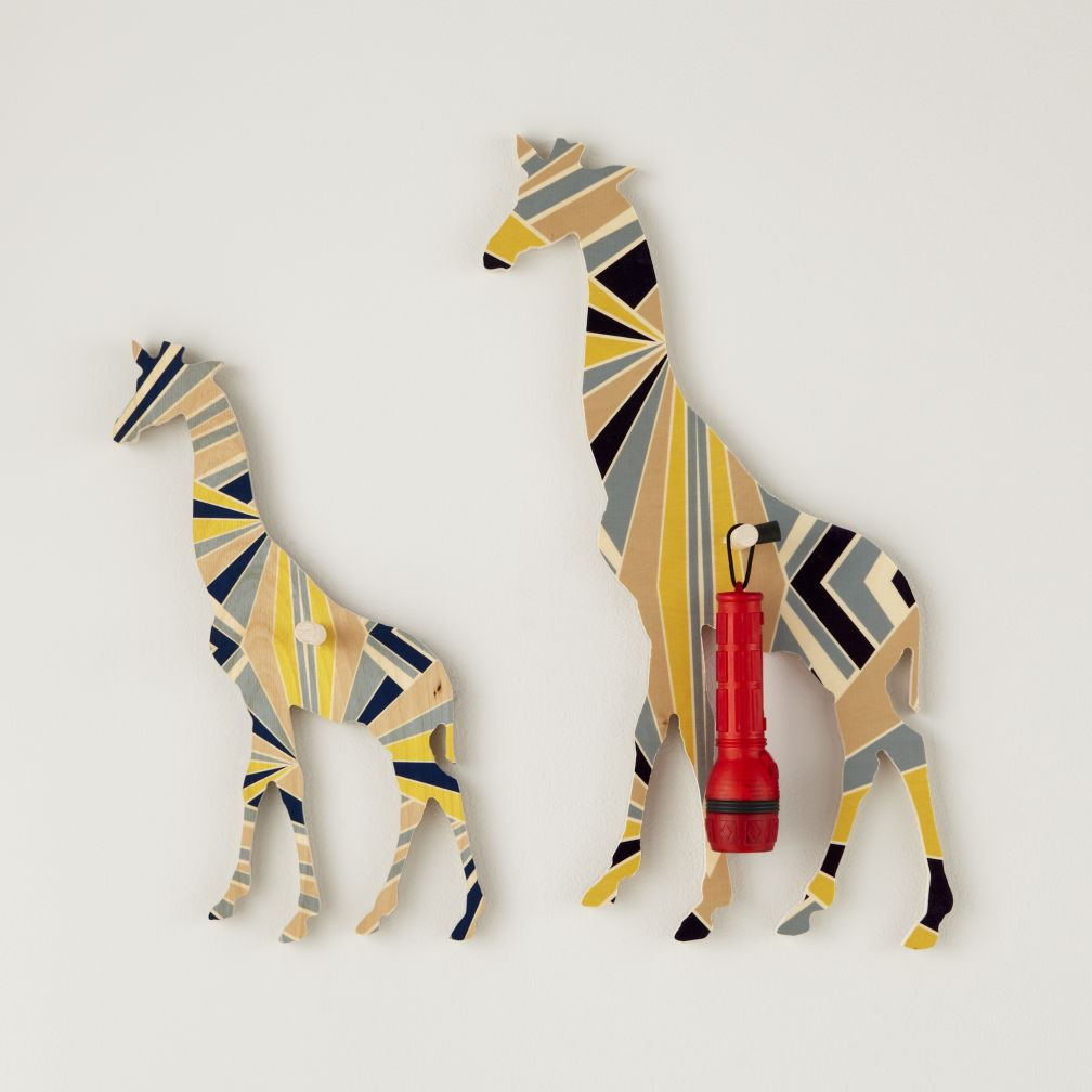 Flashy Forest Giraffe Wall Hook (Blue/Yellow)