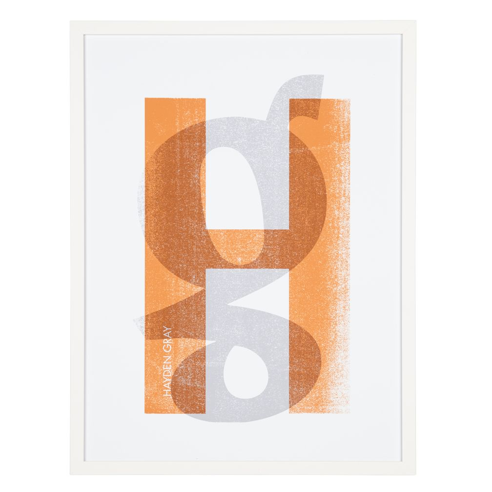 Personalized Stacked Initial Wall Art (Orange)