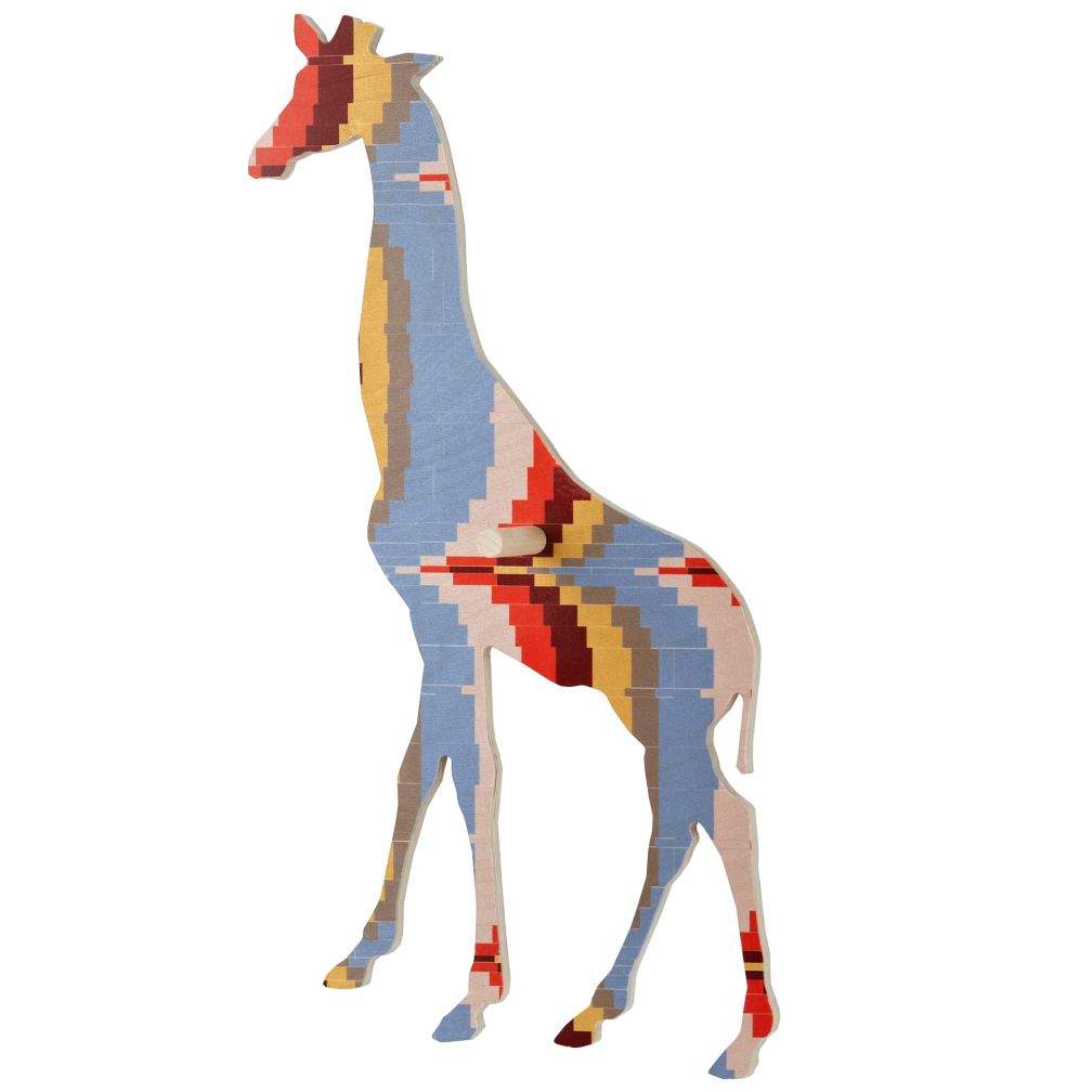 Large Flashy Forest Giraffe Wall Hook (Orange/Blue)