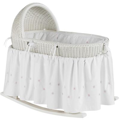 White Bassinet with Pink Bedding Set
