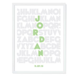 Alphabet Personalized Wall Art (Green)