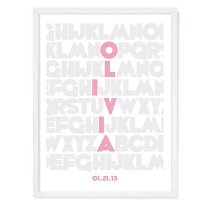 Alphabet Personalized Wall Art (Pink)