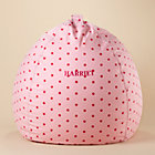 "40"" Pink Dots Personalized Beanbag Chair includes Cover and InsertFree embroidered personalization!"