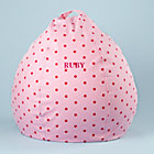 "30"" Pink Dot Personalized Beanbag Chair includes Cover and InsertFree embroidered personalization!"