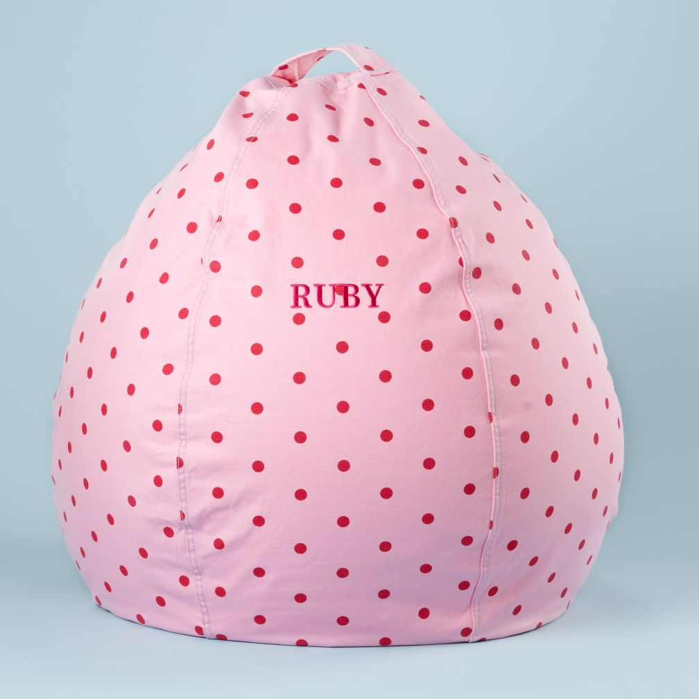 "30"" Personalized Bean Bag Cover (Pink Dots)"