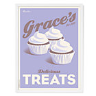 Purple Personalized Cupcakes Wall Art with White Frame
