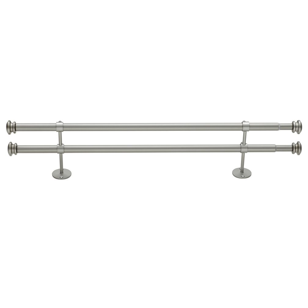 "28-48"" Nickel Button Cap Double Rod"