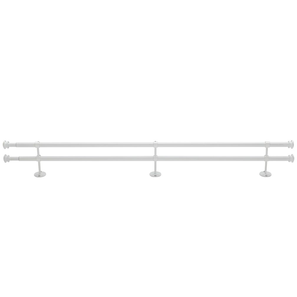 "48-84"" Button Cap Double Rod (White)"