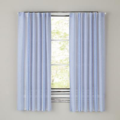 "63"" Blue Line Linen Curtain Panels"
