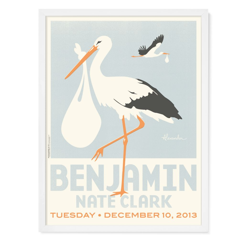 Stork Delivery Personalized Wall Art (Blue with White Frame)