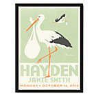 Green with Black Frame Personalized Stork Wall Art