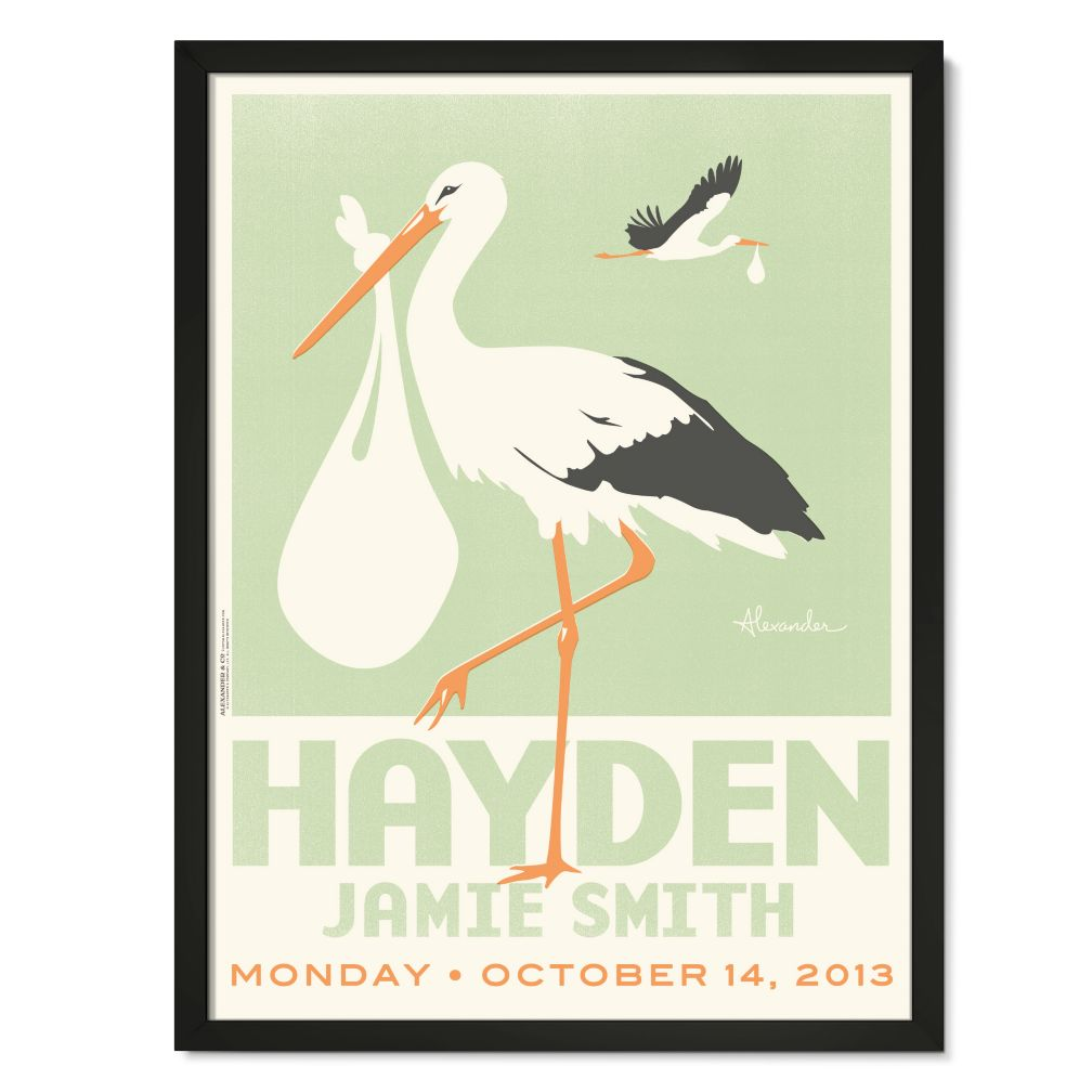 Stork Delivery Personalized Wall Art (Green with Black Frame)