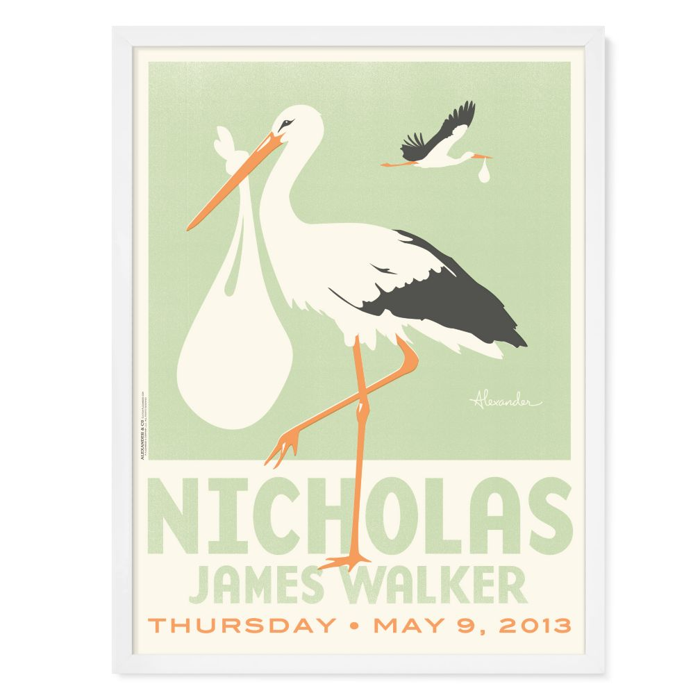 Stork Personalized Wall Art (Green with White Frame)