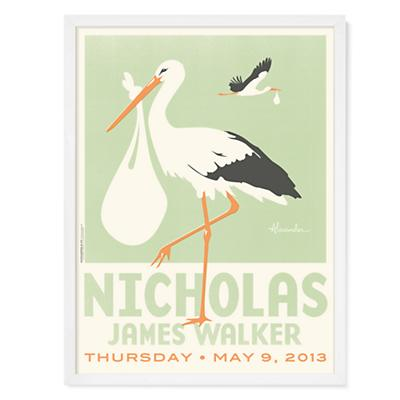 Stork Wall Art (Green w/White Frame)