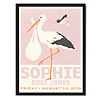 Pink with Black Frame Personalized Stork Wall Art