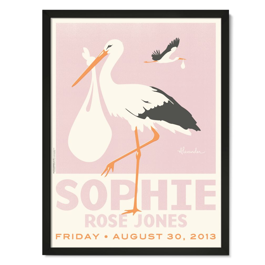 Stork Delivery Personalized Wall Art (Pink with Black Frame)