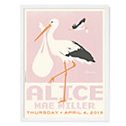 Pink with White Frame Personalized Stork Wall Art