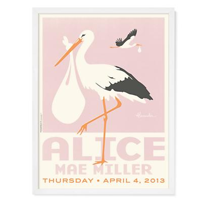 Stork Wall Art (Pink w/White Frame)