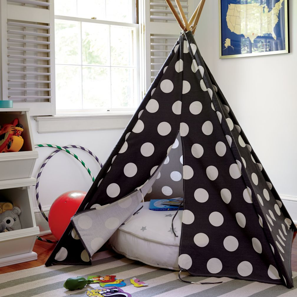 A teepee to call your own grey w white dot